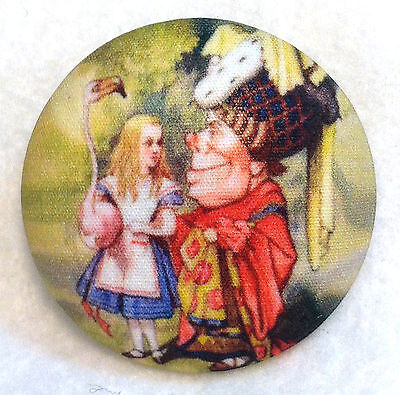 Alice in Wonderland Queen of Hearts  Fabric  Button 1 & 1/2 in FREE US SHIPPING
