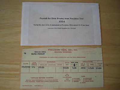 Elvis Presley Paystub from Precision Tool 1954  EPE