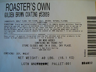 40 Lbs.golden Brown Coating Breading For Use With Your Broaster Pressure Fryer