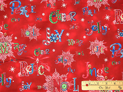 (Sparkle Rejoice Merry Jingle Cheer RED Christmas Fabric by the 1/2 Yard #1657)