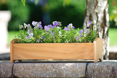 - Teak wood planter flower herb tree window box garden, 19x6x5 (OD)