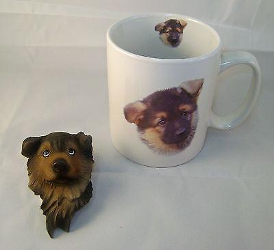 (Cute German Shepherd Puppy Ceramic Mug and SculpturedGerman Shepherd Head Magnet)
