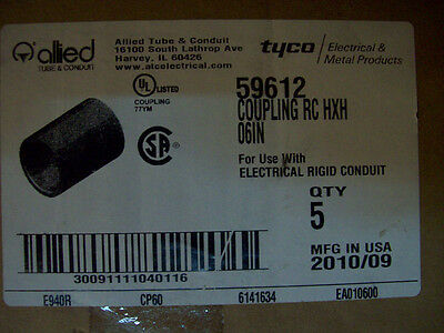 """6"""" PVC SCH 40 ELECTRICAL CONDUIT COUPLING LOT OF 5 ALLIED 59612"""
