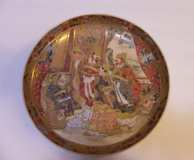 JAPANESE SATSUMA SCHOLAR CHARGER PLATE GOLD GILDED GILT  MEIJI ERA CERAMIC WARE