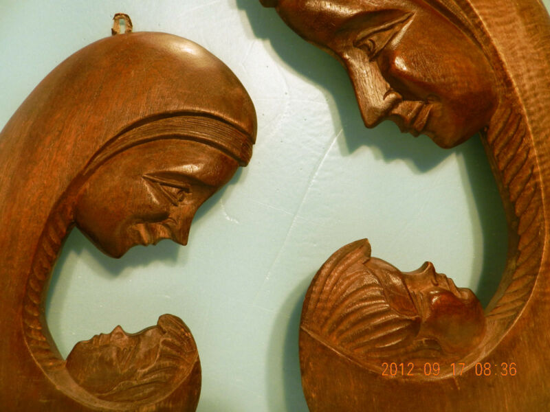 Wood Hand Carved Originals, 2 Pcs, Wall Art, Sculpture Mother Child & Moon