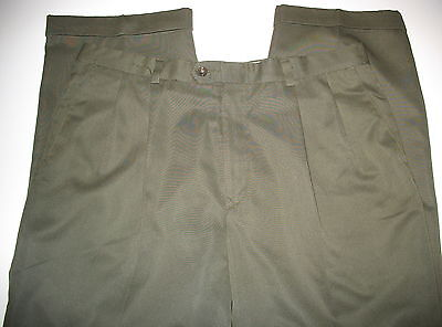 HAGGAR - 100% DACRON POLY - OLIVE GREEN - PLEATED FRONT CUFFED PANTS- 36 X 31