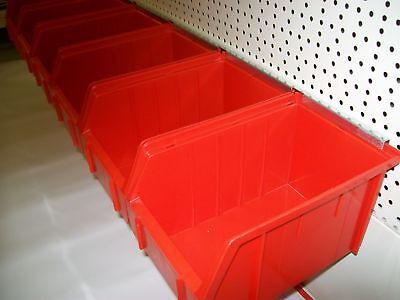 6 große Lagerboxen ROT auf Schiene zur Wandmontage