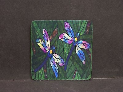 STAINED GLASS INSPIRED DRAGONFLY DRAGONFLIES #1 COASTERS SET OF 4 RUBBER (Dragonfly Coaster Set)