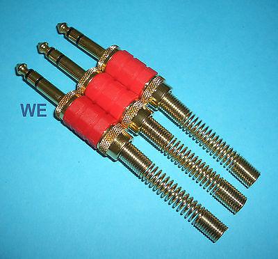 3 Stück Klinkenstecker 6,3mm Stereo 3-polig vergoldet rot