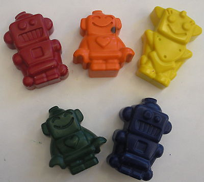 (10 sets of 5  Robot Space  Crayons Party Favors Birthday Teacher Supply )