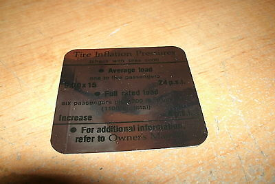 1966 CADILLAC CALAIS DEVILLE SEVILLE TIRE PRESSURE SPECIFICATIONS DECAL STICKER