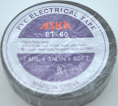 Roll Pvc Aska Et-60 Insulating Tape 34 X60 Black Electrical Tape All Purpose