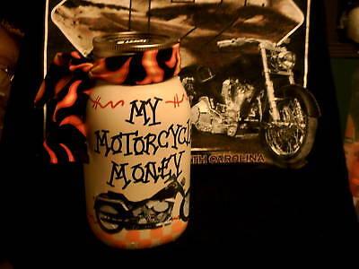 MOTORCYCLE/ BIKER MONEY JAR/ BANK- PERSONALIZED w/NAME Motorcycle Money Banks