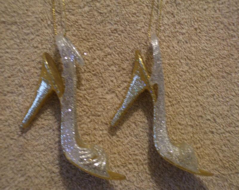 2 Pc Acrylic WHITE & GOLD HIGH HEEL SHOE Christmas Ornaments - NEW