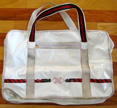 RARE VTG 1970S GUCCI ITALY LARGE WHITE VINYL TENNIS BAG GREEN RED STRIPE VHTF