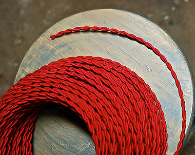 Red Twisted Rayon Cloth Covered Wire, Vintage Fabric Lamp Cord, Antique Lighting