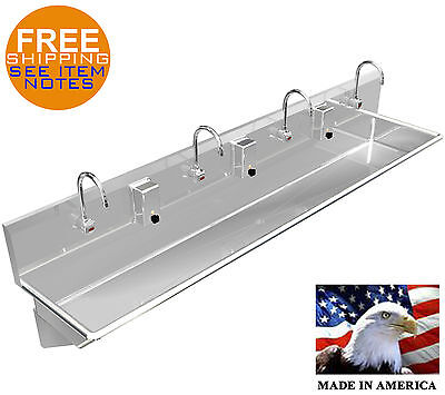 Hand Sink 4 Users Multistation 96 Wash Up Electronic Faucet Stainless Steel