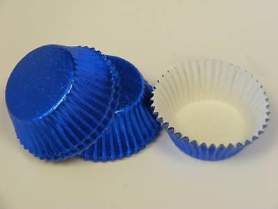 50 x high quality BRIGHT BLUE Foil Bun Fairy Cake cases