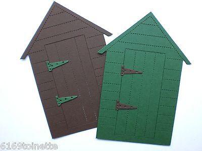 6 x GARDEN SHED & HINGES Die-cuts  Brown & Green  Crafts / Cardmaking
