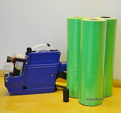 Mx-6600 10 Digits 2 Lines Price Tag Gun Labeler 1 Ink 42 Rolls Green 500 Tags