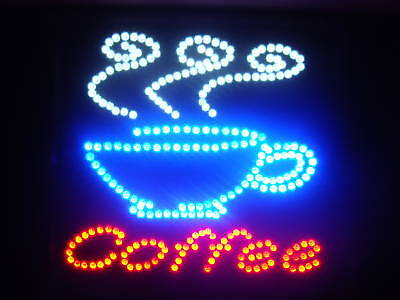 Ultra Bright LED Neon Light Animated Coffee Cafe CUP  Business Sign (Coffee Cup Led Sign)
