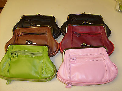 COIN PURSE LARGE SIZE DOUBLE FRAME WITH 2 ZIPPER POCKETS ASSORTED (Double Zipper Purse)