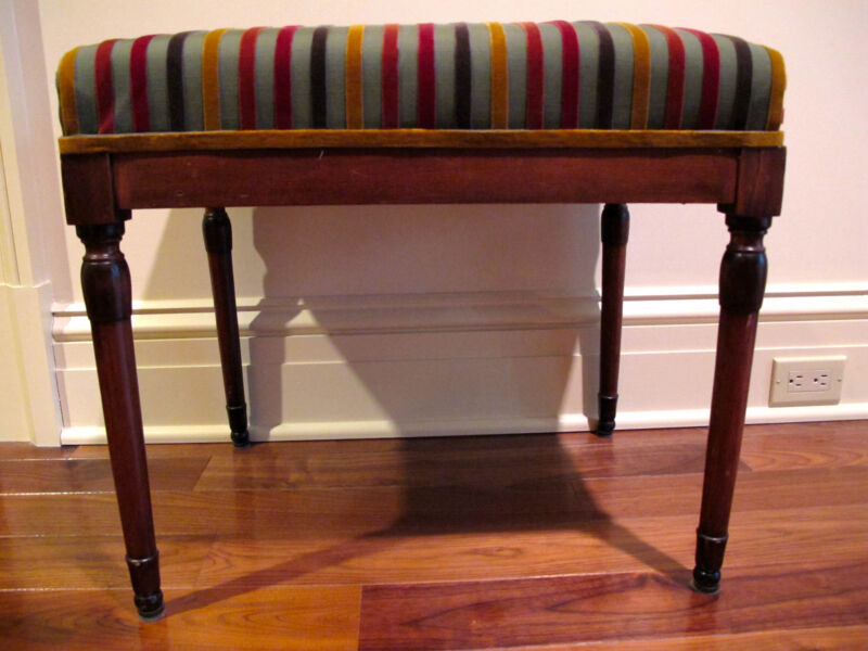 ANTIQUE FRENCH WALNUT UPHOLSTERED BENCH