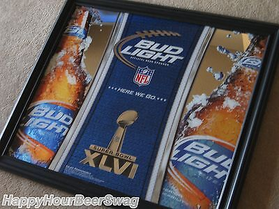 Bud Light NFL Super Bowl XLVI Mirror beer sign pub bar Giants Patroits football