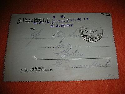 FELDPOST XIII ARMEEKORPS GRENADIER REGIMENT PRINZ CARL N 12 MASCHINENGEWEHR