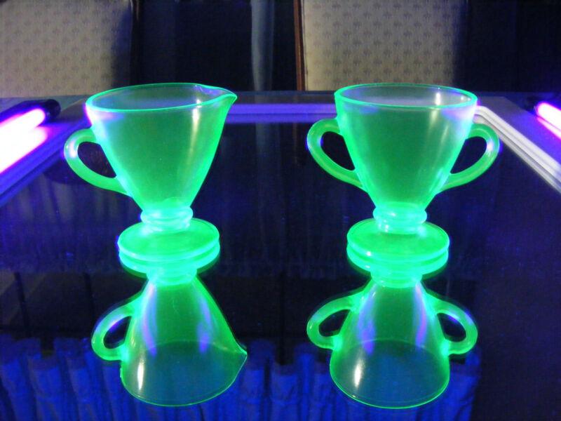 Uranium  / Vaseline Glass Cream and Sugar Set