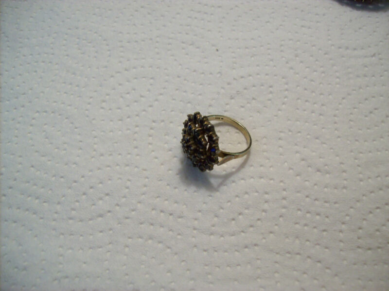 Bohemian Antique Red Rose Cut Garnet Ring Marked 830 Sterling Silver Stunning!!