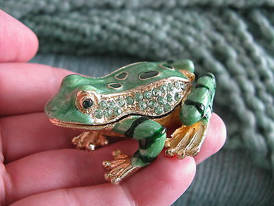 NEW PRECIOUS MINIATURE JEWELED ORNATE GREEN FROG JEWELRY TRINKET BOX W/BLING! (Frog Jeweled Trinket Box)