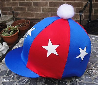 Lycra Skull Cap - Lycra Hat Silk Skull cap Cover ROYAL BLUE & RED * WHITE STARS With OR w/o Pompom