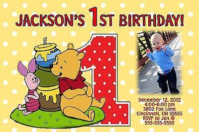 Winnie the Pooh & Piglet 1st Birthday Invitation - Photo or No -