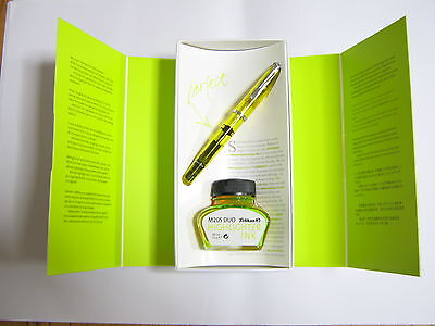 2010 Special Edition Pelikan M205 Yellow Demo Fountain Pen With Ink bottle