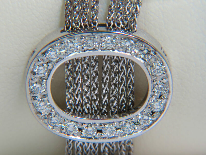 "█$9500 VIDEO ITALY 18KT 1.41CT THREE ""O"" OVALS ROUND DIAMONDS LINKS BRACELET█"