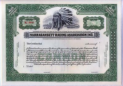 Narragansett Racing Association Inc. Stock Certificate Rhode Island Horse