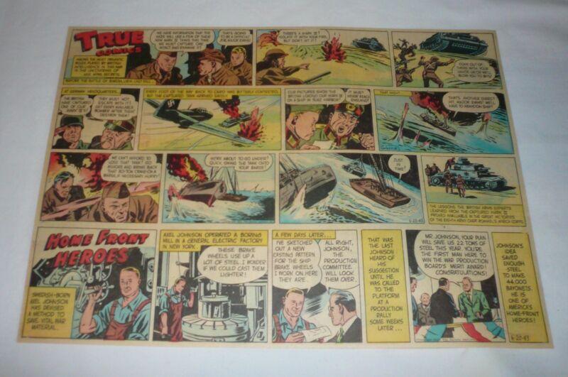 1943 True Comics cartoon ~ BRITISH INTELLIGENCE Bardia,Libya; AXEL JOHNSON