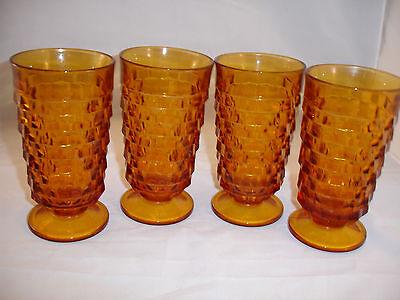 CUBIST GOBLETS Amber American Whitehall Goblets Glasses Set of 4 Excellent