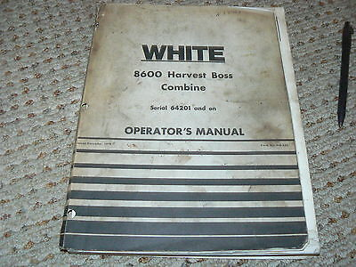 Oliver White Tractor 8600 Serial 64201 On Combine Operators Manual