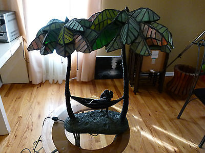 Palm Tree Hammock Lead Stained Glass & Bronze lamp Rare one of a kind hand made.