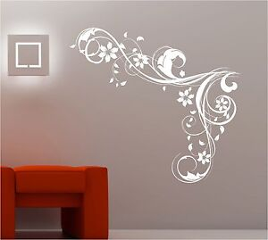 BEDROOM WALL ART SWIRLS FLOWERS VINYL STICKER LOUNGE