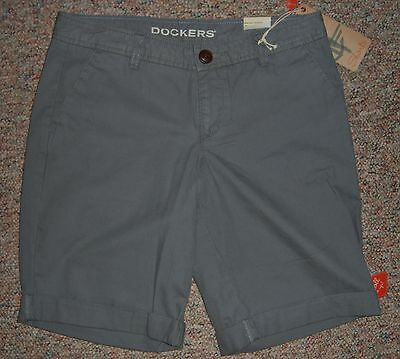 DOCKERS Gray Boyfriend Roll Me Up Long Bermuda Casual Shorts Cuffs Size 4 NWT (Cuff Me Up)