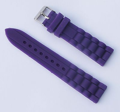 New 20mm Purple Silicone Rubber Watch Band Strap