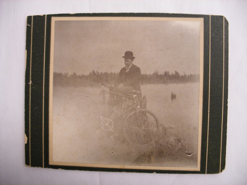 Vtg Antique Photograph Man and Bicycle