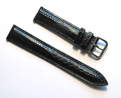 18mm Genuine Leather Padded Lizard Grain Black Watch Band - Size Regular