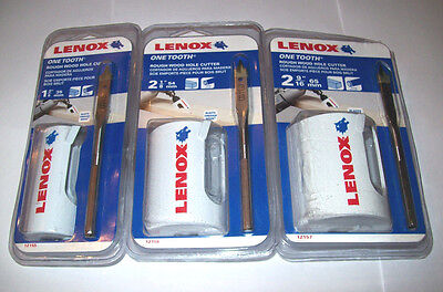 Lenox Wood Bits - 3pc LENOX ONE TOOTH ROUGH WOOD HOLE CUTTER HOLE SAW DRILL SET HIGH SPEED STEEL