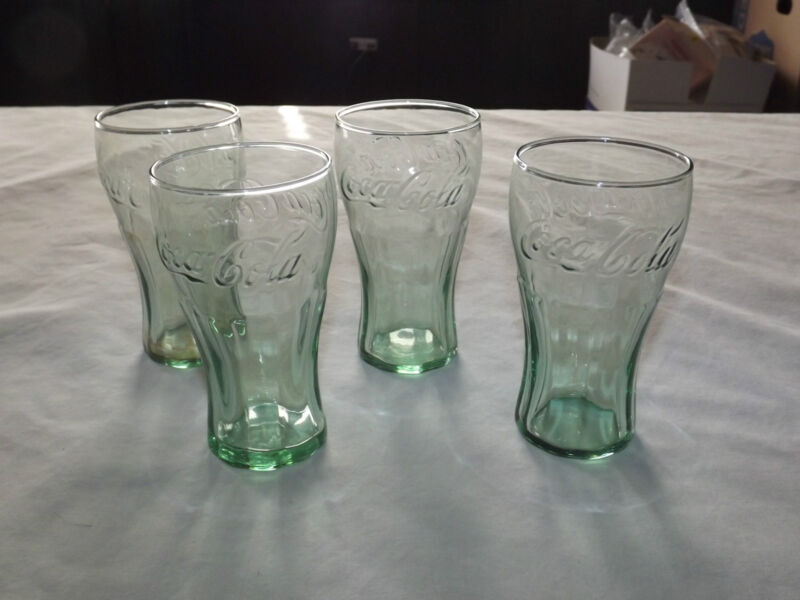 SODA 4 MINI GREEN COCA COLA BELL SHAPED EMBOSSED DRINKING GLASSES