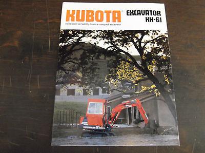 Kubota Kh-61 Compactmini Excavator Brochure 1989
