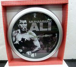 15 CHROME BRUSHED  PLASTIC WALL CLOCK MUHAMMAD ALI
